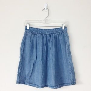 Madewell Chambray Denim Jean Skirt Sz 0